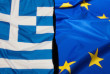 Financial Crisis in Greece - Greek Flag and Flag of European Union