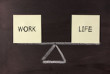 Work and Life balance concept on blackboard.