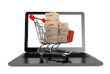 Online shopping concept. Shopping Cart with Boxes over Laptop on a white background