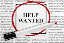 Help wanted ad on newspaper