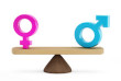 Man and woman equality concept with male and female symbols at the two sides of the scale.