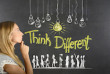Woman and think different concept