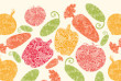 Vector textured vegetables horizontal seamless pattern background with hand drawn elements