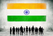 Indian Flag and a group of business people.