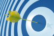 yellow dart on blue target global world economy